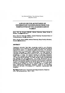 a study on the acceptance of information technologies ... - Online Dergi