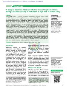 A Study to Determine Minimum Effective Dose of ...