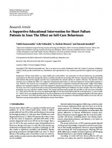 A Supportive-Educational Intervention for Heart Failure Patients in Iran