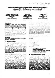 A Survey of Cryptographic and Non-cryptographic Techniques for ...
