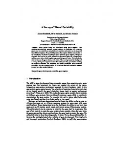 A Survey of 'Game' Portability - Computer Science