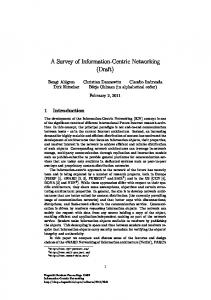 A Survey of Information-Centric Networking (Draft)