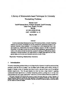 A Survey of Metaheuristic-based Techniques for University ... - ORCA
