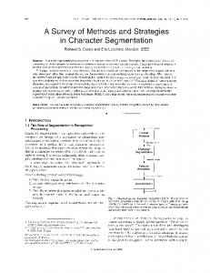 A Survey of Methods and Strategies in Character Segmentation - Free