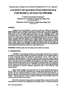 A SURVEY OF QOS ROUTING PROTOCOLS FOR MOBILE AD HOC ...