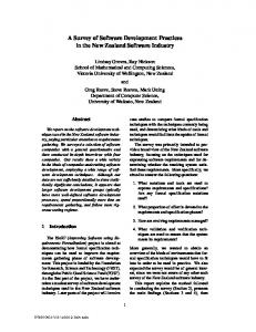 A Survey of Software Development Practices in the New ... - CiteSeerX