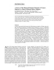 A Survey of the Humoral Immune Response of Cancer ... - CiteSeerX