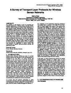 A Survey of Transport Layer Protocols for Wireless Sensor Networks