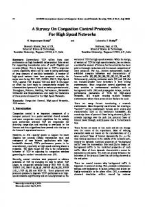 A Survey On Congestion Control Protocols For High Speed Networks