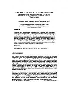 a survey on elliptic curve digital signature algorithm and its ... - AIRCC