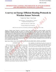 A survey on Energy Efficient Routing Protocols in Wireless ... - IJRASET
