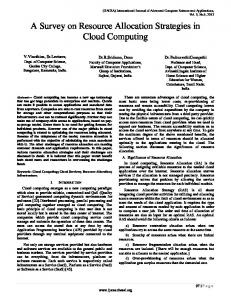 A Survey on Resource Allocation Strategies in Cloud Computing