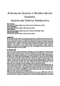 A Survey on Security in Wireless Sensor Networks: Networks: Attacks ...