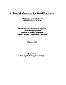 A Swedish Grammar for Word Prediction - CiteSeerX