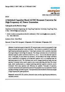 A Switched Capacitor Based AC/DC Resonant Converter for ... - MDPI