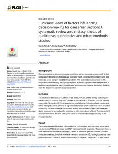 A systematic review and metasynthesis of - PLOS