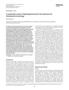 A systematic review of dydrogesterone for the treatment of threatened ...