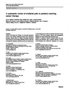 A systematic review of orofacial pain in patients receiving ... - MASCC