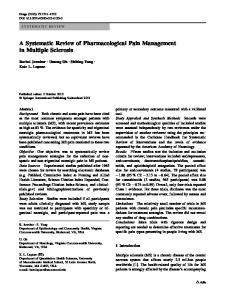 A Systematic Review of Pharmacological Pain Management in ...
