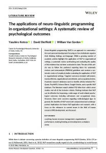 A Systematic Review of Psychological Outcomes