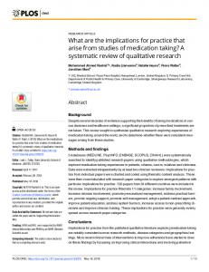 A systematic review of qualitative research - PLOS