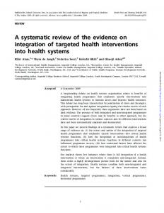 A systematic review of the evidence on integration of