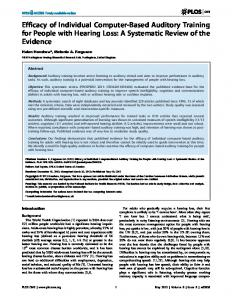 A Systematic Review of the Evidence - PLOS