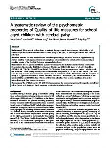 A systematic review of the psychometric properties of ... - ScienceOpen