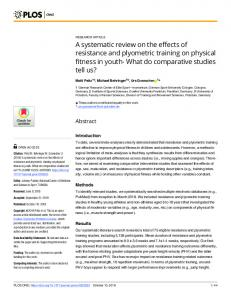 A systematic review on the effects of resistance and plyometric training