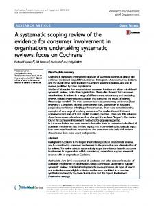 A systematic scoping review of the evidence for consumer ... - Core