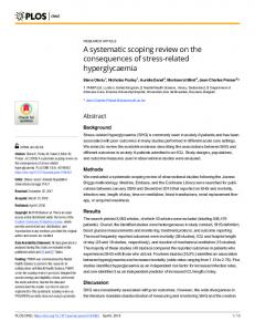 A systematic scoping review on the consequences of stress ... - PLOS