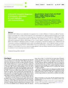 A Systemic Complete Response of Metastatic Melanoma to Local ...