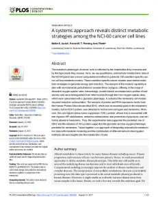 A systems approach reveals distinct metabolic