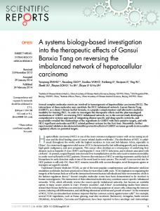 A systems biology-based investigation into the therapeutic ... - Nature