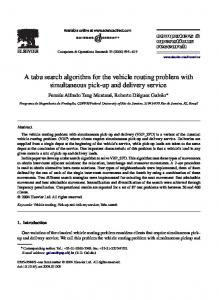 A tabu search algorithm for the vehicle routing ... - Semantic Scholar
