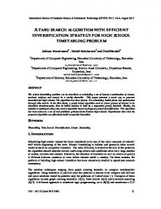 A Tabu Search Algorithm With Efficient Diversification Strategy for ...
