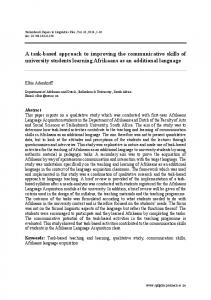 A task-based approach to improving the communicative skills of ...