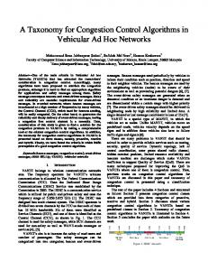 A Taxonomy for Congestion Control Algorithms in Vehicular Ad Hoc ...