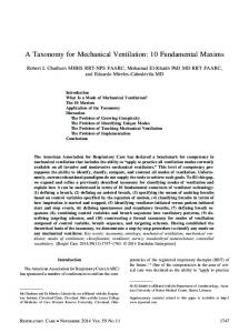 A Taxonomy for Mechanical Ventilation: 10 ...