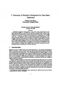 A Taxonomy of Similarity Mechanisms for Case ... - Semantic Scholar