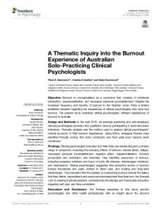A Thematic Inquiry into the Burnout Experience of Australian Solo