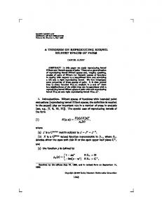 A THEOREM ON REPRODUCING KERNEL HILBERT ... - Project Euclid