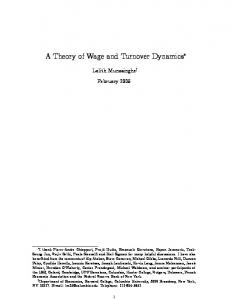 A Theory of Wage and Turnover Dynamics*