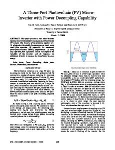 A Three-Port Photovoltaic (PV) Micro-Inverter with Power Decoupling ...