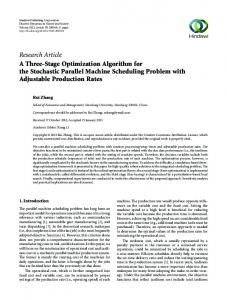 A Three-Stage Optimization Algorithm for the Stochastic Parallel