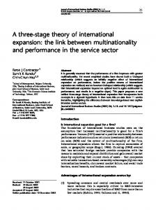 A three-stage theory of international expansion: the ... - SSRN papers