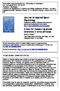 A tool for measuring stress tolerance in elite athletes