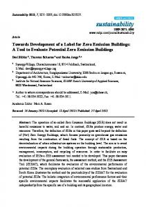 A Tool to Evaluate Potential Zero Emission Buildings - MDPI