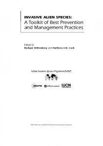 A Toolkit of Best Prevention and Management Practices