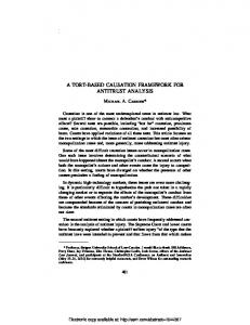 a tort-based causation framework for antitrust analysis - SSRN papers